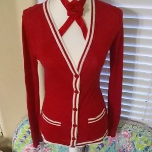 Forever 21 fun red/white collegiate style cardigan